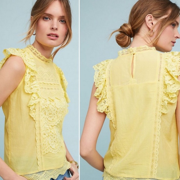 Anthropologie Tops - Maeve by Anthropologie Blouse Victoria Lace Yellow